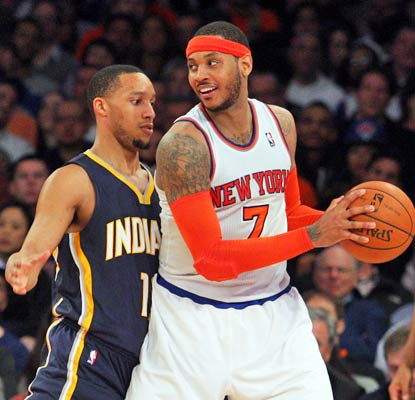 Carmelo Anthony shows off for new team president Phil Jackson by dropping 34 points on the Pacers at the Garden.  (USATSI)