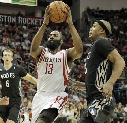 James Harden tallies 28 points and eight assists as the Rockets roll to an easy home win over the Timberwolves.  (USATSI)
