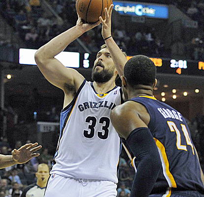 Marc Gasol scores 10 points in 39 minutes, and the Grizzlies put the clamps on the Pacers in a big victory.  (USATSI)