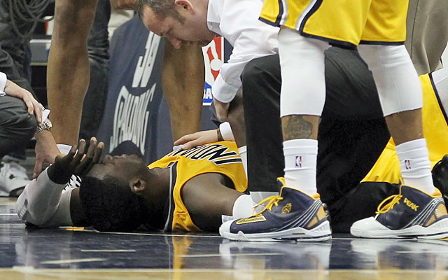LeBron on his elbow to Roy Hibbert's chin, which resulted in a flagrant: 'I made a basketball play.' (USATSI)