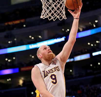 Chris Kaman starts at center for the Lakers and finishes with a career-high 28 points along with 17 rebounds in the win. (Getty Images)