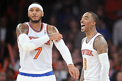 Carmelo Anthony and J.R. Smith combined for 47 points and 18 rebounds to keep the Knicks rolling in a satisfying victory.  (USATSI)