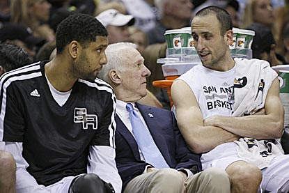 Tim Duncan, Gregg Popovich and Manu Ginobili can rest easy in the second half after another superlative Spurs effort.  (USATSI)