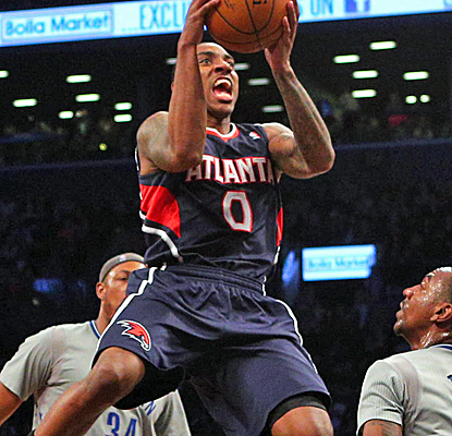 Jeff Teague posts 22 points against the Nets, and the Hawks (36-43) move closer to a playoff spot.  (USATSI)