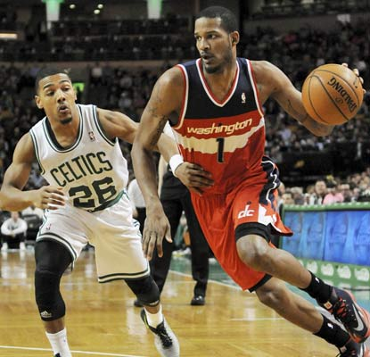 Trevor Ariza and the Wizards end the regular season by beating the Celtics. They will face the Bulls in the playoffs.  (USATSI)