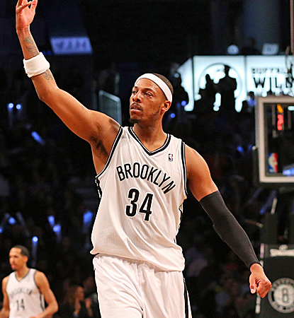 Paul Pierce scores 18 points in the first home playoff game of his Brooklyn career as the Nets go up 2-1.  (USATSI)