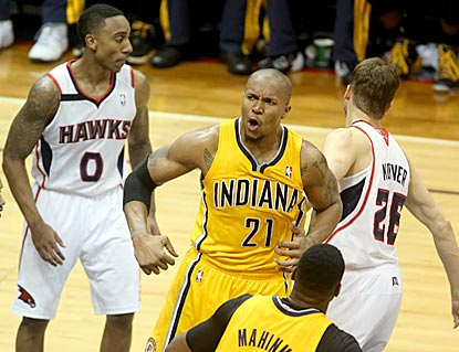 David West comes up big in crunch time, scoring eight points in the final three minutes to help the Pacers escape.  (USATSI)