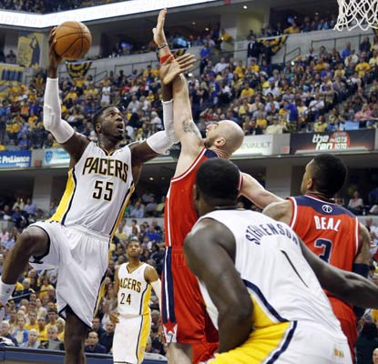 Roy Hibbert picks a good time to score a season-best 28 points for a vital Game 2 win for the Pacers.  (USATSI)