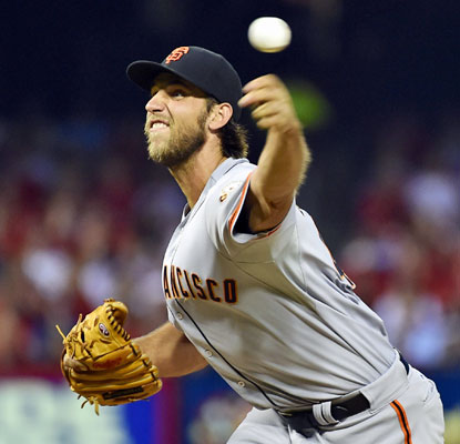 Madison Bumgarner strikes out 10 through seven scoreless frames to quiet the Cardinals in St. Louis.  (USATSI)