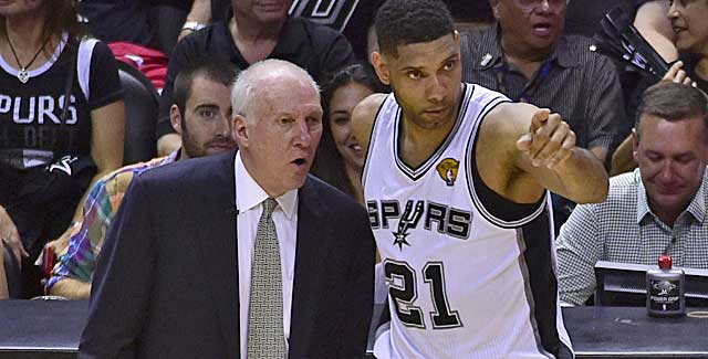 Tim Duncan and Gregg Popovich  faced sweltering conditions Thursday night. (USATSI)