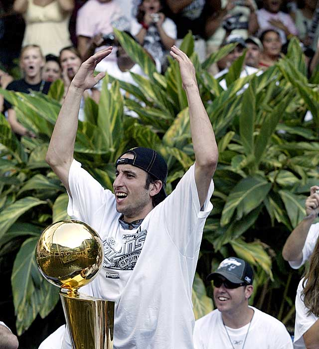 Ginobili is fired up about another NBA title trophy in San Antone.    (Getty Images)