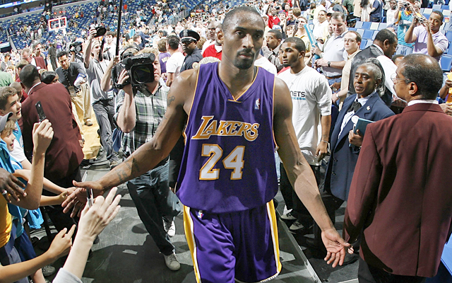 Kobe walks off the court following the Hornets game after his fourth straight 50-point game. (Getty Images)