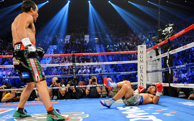 Juan Manuel Marquez looks on after knocking Manny Pacquiao down Saturday night. (US Presswire)
