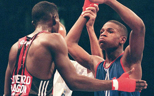 Young Floyd Mayweather Jr. was on track to win gold in Atlanta in 1996 before a semifinal loss. (Getty Images)