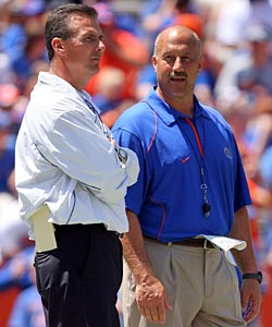 Urban Meyer has been able to lean more on Steve Addazio to ease his intense workload. (Getty Images)