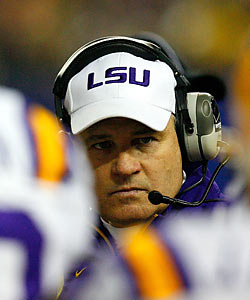 Les Miles is one of several coaches who have no problem hiding behind the NCAA rulebook to work around the 'Houston Nutt Rule.' (Getty Images)