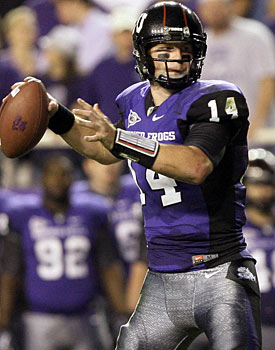 Andy Dalton, a projected fifth-round pick, is tied with Sammy Baugh for the most wins in TCU history. (AP)