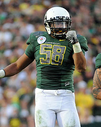Kenny Rowe is back at Oregon after leading the Pac-10 with 11 1/2 sacks. (Getty Images)