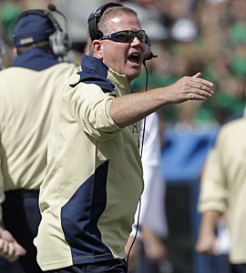 'We have some work to do, we're not there yet, but we took a step,' Brian Kelly says. (AP)