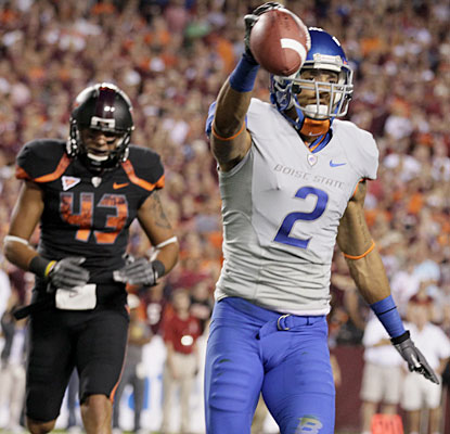 Austin Pettis hauls in two touchdowns Monday night, including the eventual game winner.  (AP)