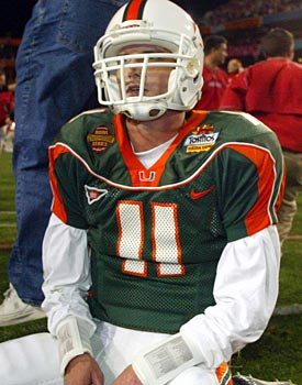 Miami's QB, Ken Dorsey, can't believe the 'Canes have lost. Miami has yet to come close to a national title since. (Getty Images)