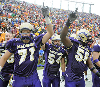 James Madison is the second FCS school to beat a ranked FBS team after Appalachian St.'s landmark win over Michigan in 2007.  (AP)