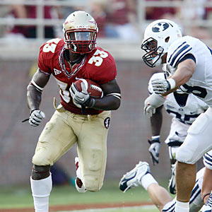 Ty Jones is one of multiple FSU running backs to have an easy day of work against bumbling and stumbling BYU. (US Presswire)