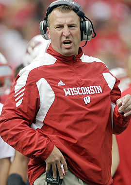 Wisconsin coach Bret Bielema and the Badgers sidestep another scare this season. (AP)