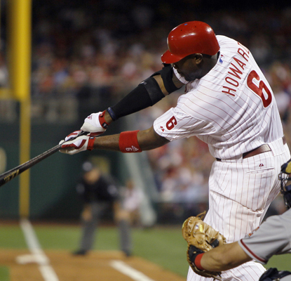 Ryan Howard follows through after hitting a two-run HR off Jordan Zimmermann in the third inning. (Getty Images)