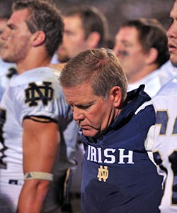 The look on Brian Kelly's face after Notre Dame's OT loss says it all. (US Presswire)
