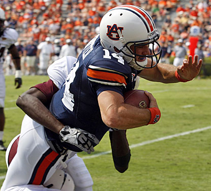 Backup QB Barrett Trotter gets in on the Auburn fun, scoring on an 18-yard run in the fourth quarter.  (US Presswire)