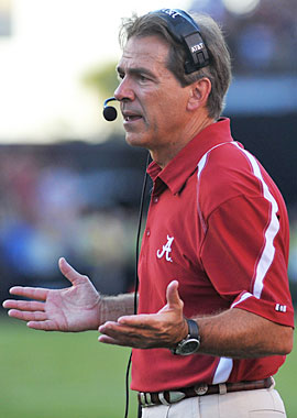 Nick Saban and Alabama had no answers for South Carolina on Saturday. (Getty Images)