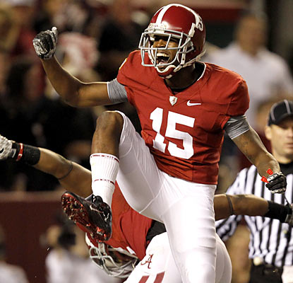Running back Darius Hanks and the Tide still had lots of reasons to celebrate Saturday.  (AP)