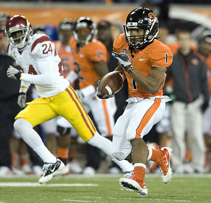 Jacquizz Rodgers helps the Beavers burn the Trojans by rumbling for 128 yards and a touchdown on the ground.  (AP)