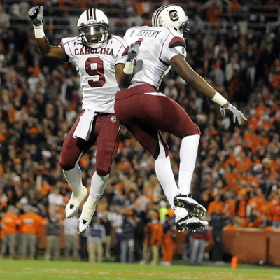 South Carolina's Alshon Jeffery (right) celebrates his second-quarter touchdown with teammate Ace Sanders. (AP)