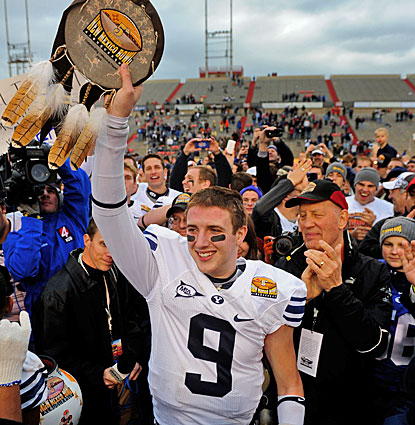 Jake Heaps, the first freshman to start a bowl for BYU, is named the offensive player of the game.  (US Presswire)