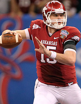 Ryan Mallett's stock is up after Andrew Luck's decision to stay in college. (US Presswire)