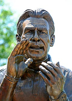 The real star of the show in Tuscaloosa was this representation of Nick Saban, instead of the real thing. (US Presswire)