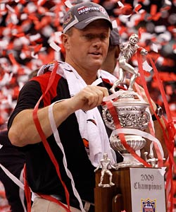 Kyle Whittingham kept the machine rolling at Utah, capping a perfect season with a 2010 Sugar Bowl win. (Getty Images)