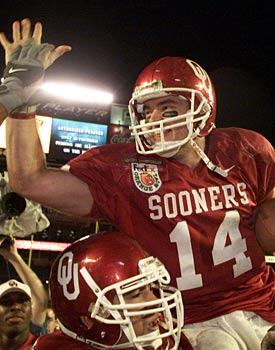 Josh Heupel won Sooners fans hearts forever with his championship. Landy Jones hasn't reached this level ... yet. (Getty Images)