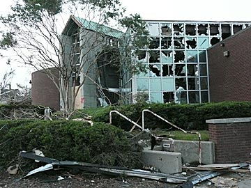 This school is only a tiny part of the devastation in the Birmingham area. (CBSSports.com Original)