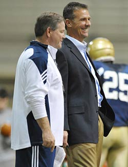 Urban Meyer is still spending time on the sidelines these days, but he is not coaching. (US Presswire)