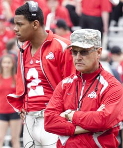 Terrelle Pryor's actions not only lead to his early exit, but took down Jim Tressel too. (US Presswire)