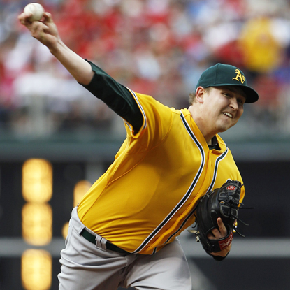 Tossing three-hit ball into the eighth, Oakland's Trevor Cahill wins his second straight start after dropping five in a row. (Getty Images)