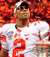 Terrelle Pryor's final game will not be recalled for OSU's victory. (US Presswire)