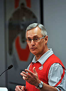 Did Jim Tressel pay for his wrongdoing with his job? The former OSU coach is officially retired, given a golden parachute. (Getty Images)