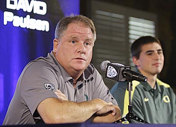 Chip Kelly is happy to discuss the reasons why UO could win the Pac-12, yet is tight-lipped about a factor that could ruin it. (AP)
