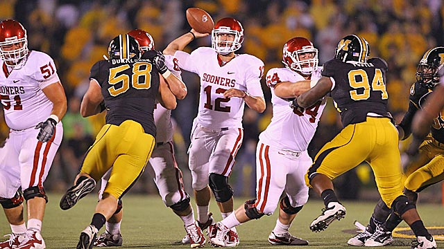 Landry Jones and Oklahoma better not overlook Missouri when the Tigers visit Norman. (Getty Images)