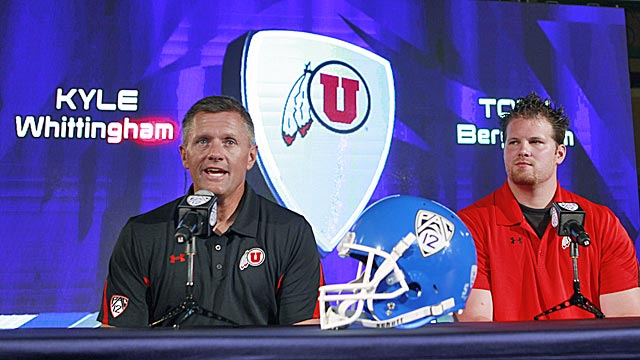 Kyle Whittingham and tackle Tony Bergstrom can't wait to play in the Pac-12. (AP)