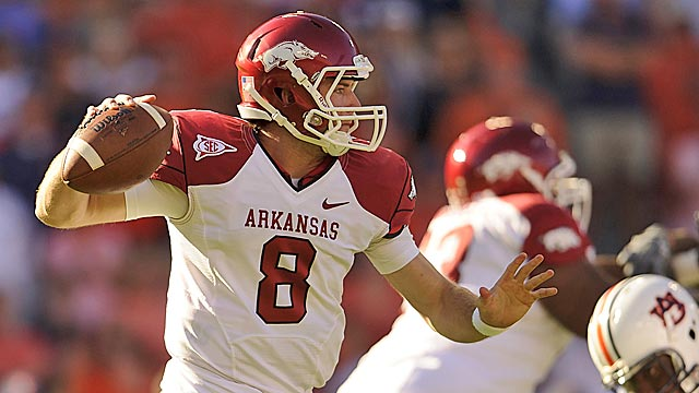 Tyler Wilson nearly led Arkansas to a win over Auburn last year after Ryan Mallett went down. (US Presswire)